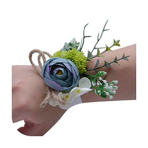 Hopereo Pulsera de boda para dama de honor para mujer, ramillete de novia, color rosa, flores de seda ramillete Fe102-verde