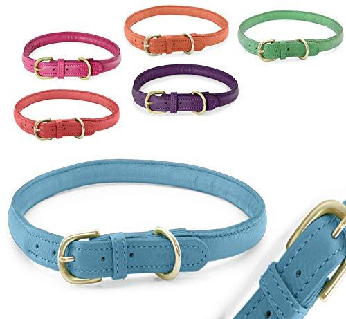 Pear - Tannery - Fashion Line: Hundehalsband Aus Weichem Vollrindleder, Handgerollt, XXS 24-31cm, Hellblau