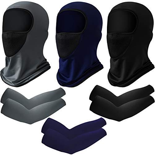 Janmercy 3 juegos de verano protección solar cubierta facial transpirable cuello largo y mangas de brazo para hombres baloncesto, golf, correr, fútbol y ciclismo