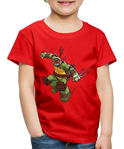 TMNT Turtles Raphael Greift An Kinder Premium T-Shirt, 122-128, Rot