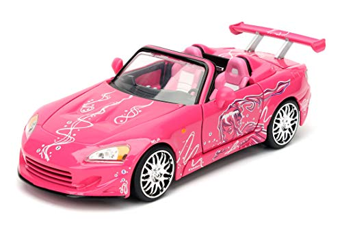 Jada Toys Fast & Furious Suki\'s Honda S200 Convertible, Auto, Tuning-Modell im Maßstab 1:24, mit Spoiler, zu öffnende Türen, Motorhaube und Kofferraum, Freilauf, pink