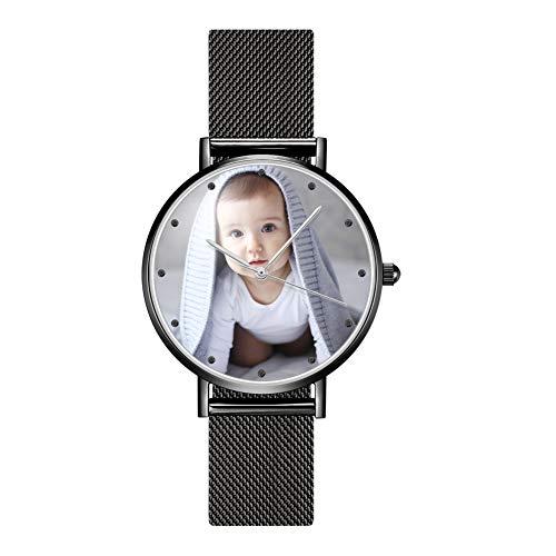 SOUFEEL Personalisierte Uhr mit Foto Gravur Armbanduhr Edelstahl Klassisch Analog Zifferblat täglich Wasserdicht Schwarz Geschenk für Frau