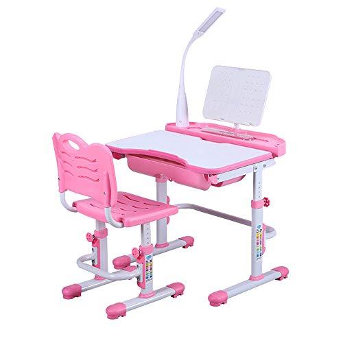 SHIOUCY - Juego de mesa y sillas para niños, mesa de escritorio y silla con altura regulable, estantería para libros, escritorio para niños, con sillas, cajón, lámpara LED, color rosa