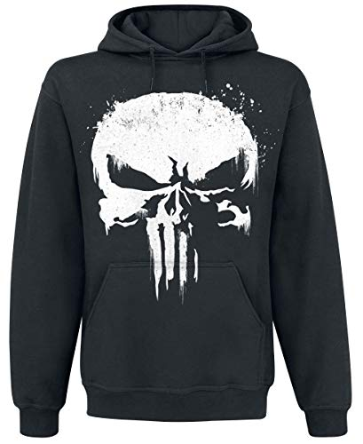 The Punisher Sprayed Skull Logo Hombre Sudadera con Capucha Negro