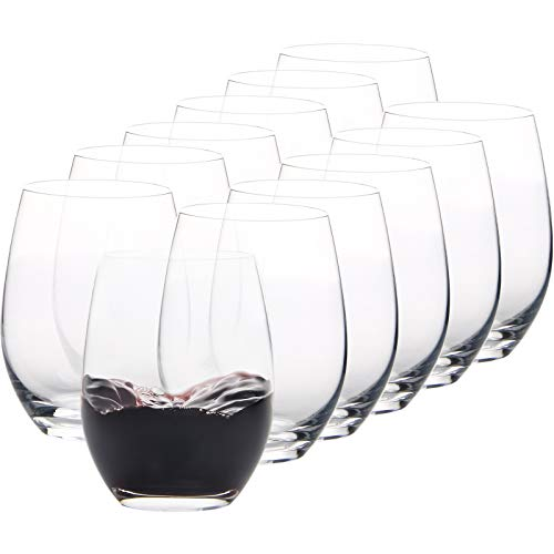 FAWLES Crystal Stemless Wine Glasses Set of 12, 15 Ounce Smooth Rim Standard Wine Glass Tumbler for Red, White Wine, Dishwasher Safe