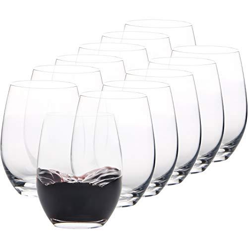 Set di 12 bicchieri da vino senza stelo - Bicchieri da vino in cristallo - 450 ML - bicchieri da...