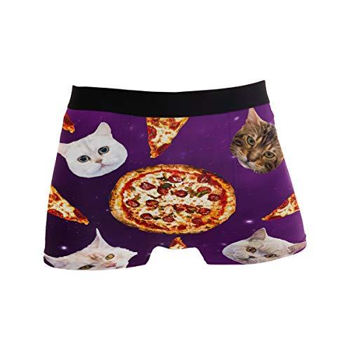 ZZKKO Galaxy Cat Pizza Herren Boxershorts Unterwäsche atmungsaktiv Stretch Boxer Trunk mit Tasche S-XL - Violett - Large