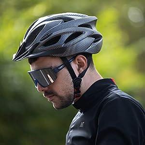 RNOX Adult Bike Helmet, Bicycle Cycle Helmet for Adults Men/Women, Adjustable Size Road Cycling Bicycle Helmet with Detachable Visor/Led Rear Light - Black Carbon Fiber