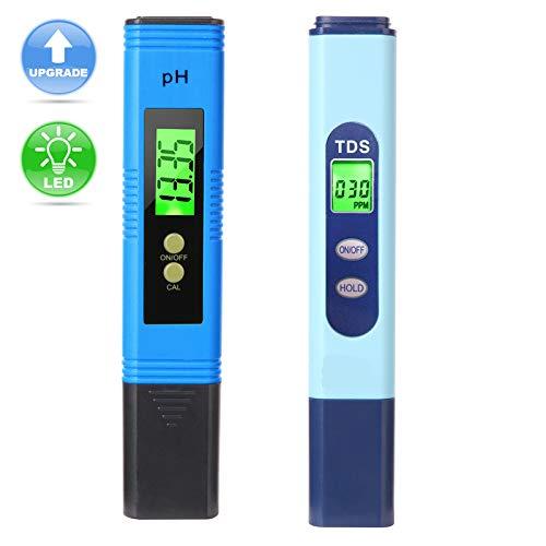 Lightswim Wasserqualitätstest Meter TDS PH 2 in 1 Set 0-9990 PPM Messbereich 1 PPM Auflösung 2% Ablesegenauigkeit
