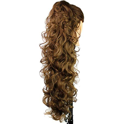 S-ssoy 31(78cm) Womens Hair Piece Pony Tail Clip In Claw Ponytail Hair Extension Long/Voluminous Curly Or Wavy Synthetic Wig Hairpiece for Women Girls,12#