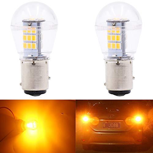 Qoope -2-Stück 9V-24V DC 1157 Glühlampe Ersetzt das 1034 7528 2057 2357 Base - Hohe Helligkeit Licht Für Blinker (Gelb)