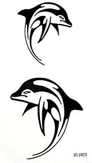 GRASHINE fake and realistic temporary tattoos male and female lovely dolphins couple waterproof