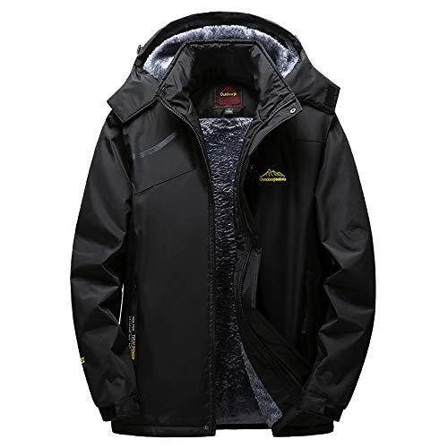 Clearance Mens Jacket! Pervobs Mens Winter Warm Windbreaker Jacket Fleece Liner Outdoor Hoodie Parka Sport Assault Coat(5XL, Black)