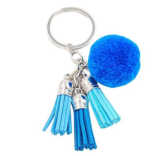 YueLian Schlüsselanhänger aus Kunstfell Fellbommel Keychain Pompon Anhänger Quaste Geburtstagsgeschenk Taschenanhänger(Blau)
