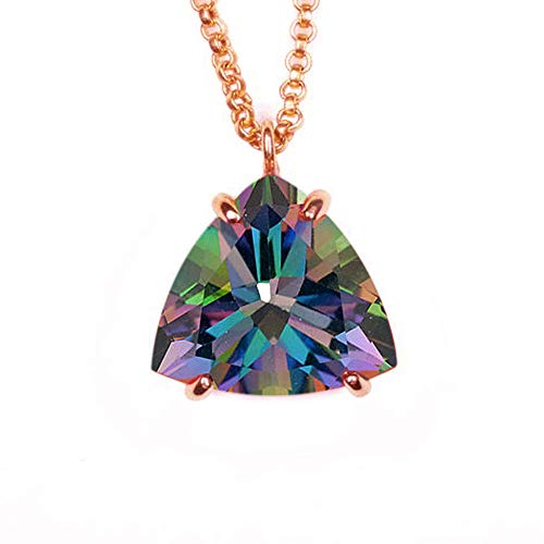 JewelryGift Natural Mystic Quartz Pendant with Chain Trillion Faceted Gemstone Multi Color Rose Gold Plated Unique jewelry Necklace for Mother