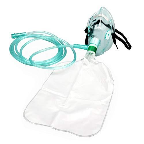 2 Pack Adult Non-Rebreather Oxygen Mask with 7 Foot Safety Tube & Reservoir Bag - Size L
