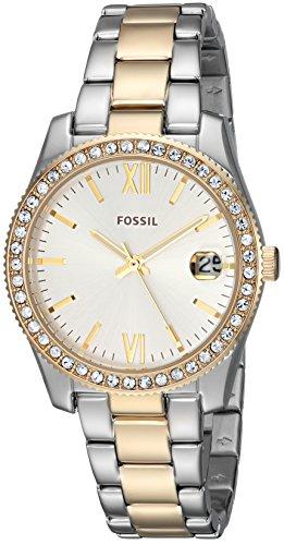 Fossil Scarlette Dreihand-Date mit zweifarbigem Edelstahlarmband in den Farben Silber und Gold für ES4319 für Damen