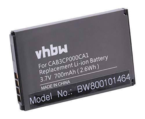 vhbw Li-Ion Akku 700mAh (3.7V) für Handy Smartphone Handy Alcatel One Touch OT-800, OT-800A, OT-802, OT-802A, OT-802Y wie CAB20100000C1, OT-BY40.