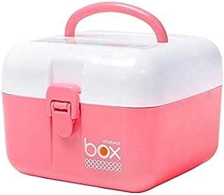 AINIYF Household Medicine Box Two-Layer Medical Box Small Large-Capacity Medicine Storage Box Medicine Box (Color : Pink, Size : 16x16x15cm)