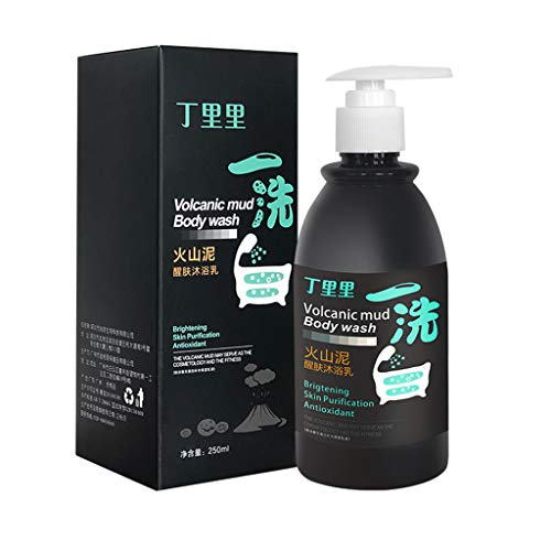Ltrotted 8.45 Oz Volcanic Mud Whitening Shower Gel, Cleaning Fluid for Bathing, Whole Body Gentle Wash Deep Fast Whitening Bath Cleaning Cream, Deep Clean Skin Exfoliate