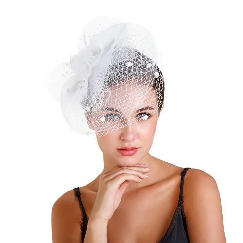 Mentin Bibi en Plume Elegant Fascinants Chapeaux de Mariage avec Mesh et Pince à Cheveux Bandeau Cocktail Voilé Chapeaux de Mariage pour Femme Fascinator Bandeaux Bérets Mariage Femme (Blanc)