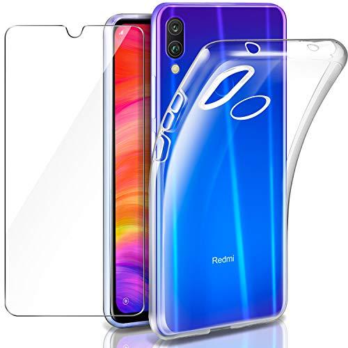 Funda Xiaomi Redmi Note 7 + Cristal Templado Xiaomi Redmi Note 7, Leathlux Transparente Redmi Note 7 TPU Silicona [Funda + Vidrio Templado] Ultra Fino Protector de Pantalla y Caso Xiaomi Redmi Note 7