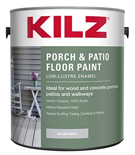 KILZ L573611 Interior/Exterior Enamel Porch and Patio Latex Floor Paint, Low-Lustre, Silver Gray, 1-Gallon, 1 Gallon, 4 l
