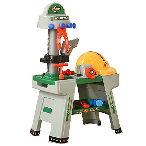 HOMCOM Kinder Werkbank Arbeitstisch Werkbanktisch mit 37 Zubehören Rollenspiel Spielzeug für Kinder von 3 bis 6 Jahren PP-Kunststoff Grün+Grau 44 x 26 x 71 cm