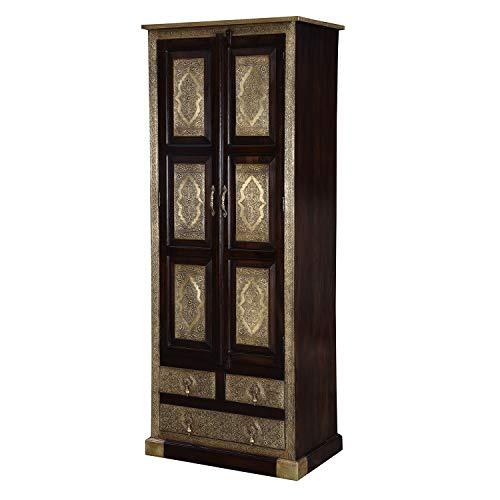 Casa Moro Orientalischer Kleiderschrank Balin aus Massivholz Sheesham mit feinen Messingintarsien 80x52x205 cm (BxTxH) | Drehtürenschrank mit 3 Schubladen | Kunsthandwerk Pur | MA27-320