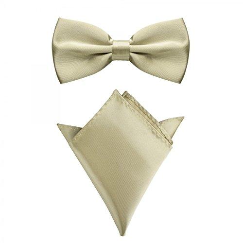 Rusty Bob - Fliege mit Einstecktuch in verschiedenen Farben (bis 48 cm Halsumfang) - zur Konfirmation, zum Anzug, zum Smoking - im 2er-Set - Champagner