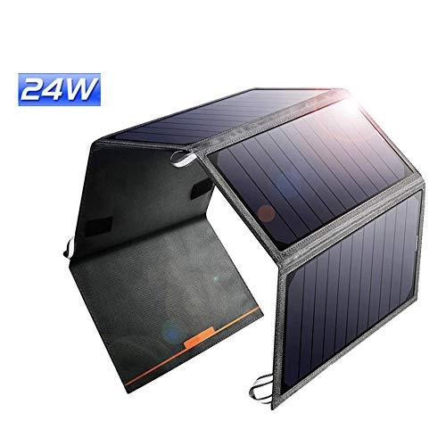 HLDUYIN Chargeur Solaire 24W Portable Power Bank Étanche Et Anti-Choc avec 2 Ports USB pour Les Téléphones Intelligents Plus pour Smartphones Et Tablettes Plus