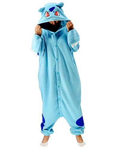 Nobranded Adult Bulbasaur Onesies Pajamas Cosplay Animal Christmas Sleepwear Jumpsuit Costume Women Men, Large