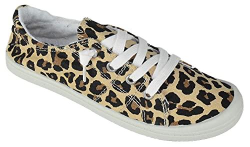 Soda Zig-s Women's Causal Flat Heel Slip On Lace Up Look Sneaker Shoes (8.5 B(M) US, Leopard)