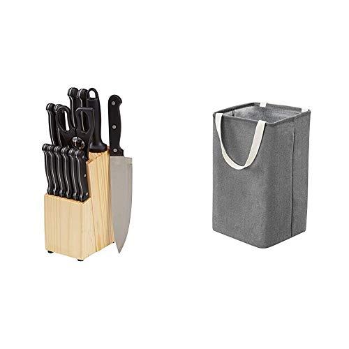 Amazon Basics Messerblock, 14-teiliges Set & Aufbewahrungskorb aus Stoff, hoher Würfel, anthrazit