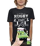 PIXEL EVOLUTION T-Shirt 3D Rugby Start Jeux Video en Réalité Augmentée Enfant - Taille 7/8 Ans - Noir