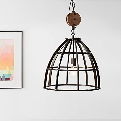 Suspension : 47 cm, 1 ampoule E27 max. 60 W, métal/bois, noir vieilli