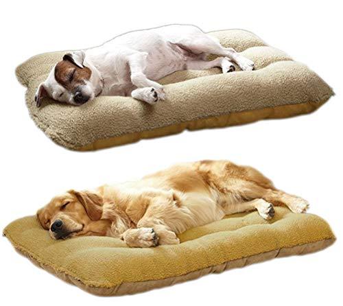 LIELIE Large Dog Bed Dog Washable Removable Pet Cashmere Mattress Cushion Warm Cover Dog Sleeping Comfortable Mat,XL:120 * 80cm