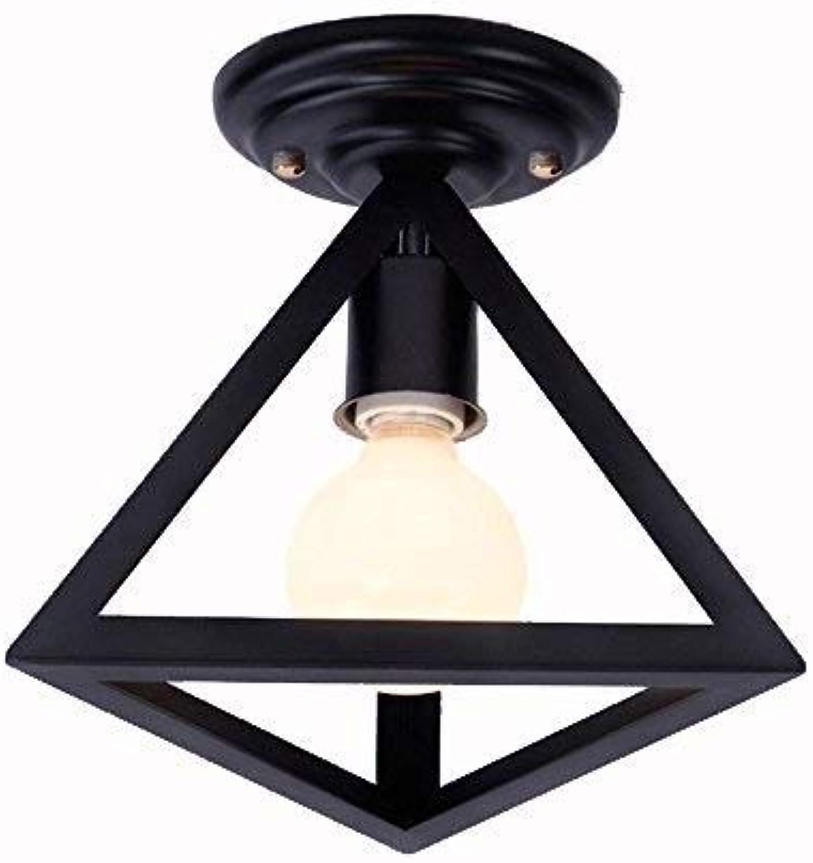 Zryh Semi Flush Mount Deckenleuchte Metall hngende Leuchte Anhnger Beleuchtung für Innen, verwenden Sie E27 Glühbirnen, schwarz Industrial Vintage Style (Farbe   A)