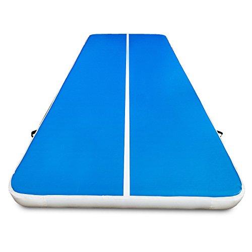 Buoqua 500X200X20cm Aufblasbare Gymnastic Tumbling Matten Yoga airtrack Matte günstig Luft-Bahn-stolpernde Matte weiß + blau Inflatable Fitness Sport (500X200X20CM)