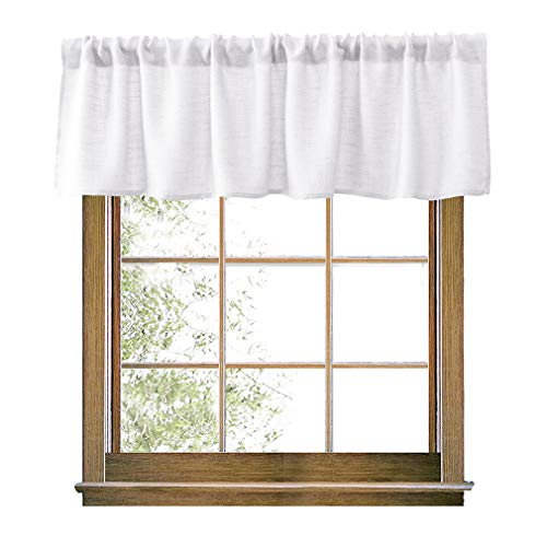 Valea Home White Valance Burlap Look Soft Natural Semi Sheer Rod Pocket Window Curtain Valance Rustic Home Décor 56 by 14 Inches