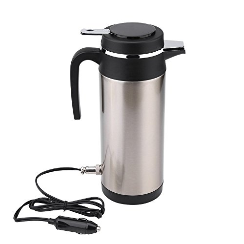 Qiilu 1200ml Car Electric Kettle 12V Hot Water Bottle Stainless Steel Cigarette Lighter Heating Cordless Kettle Mug Electric Travel Thermoses