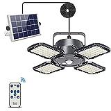 Solar Pendant Lights Outdoor Indoor with Remote Control,Latband Solar Powered Shed Light 120° Adjustable 1000LM IP65 Waterproof Solar Motion Sensor Lights 4 Lighting Modes for Home Yard Barn Gazebo