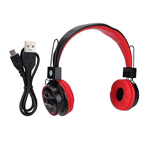 Draagbare draadloze headset, Bluetooth Stereo Audio EQ Sound Switching Recyclebaar Oplaadbare Opvouwbare hoofdtelefoon PC/Laptop/Mac/Tablet, Hoofdtelefoon op hoofd (rood)