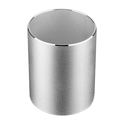 AOKSUNOVA Portalápices de aluminio para escritorio, organizador de lápices, redondo, color plateado