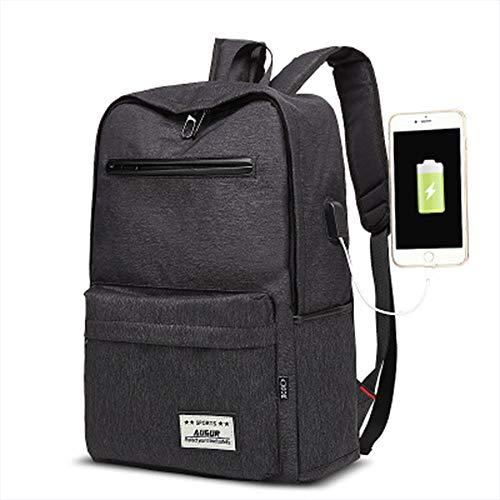 FLYJJ Outdoor Reistas Student Rugzak USB Opladen Poort Grote Capaciteit Splash-Proof Casual Canvas Tas Geschikt voor Sport Zakelijke Camping Neutraal Zwart