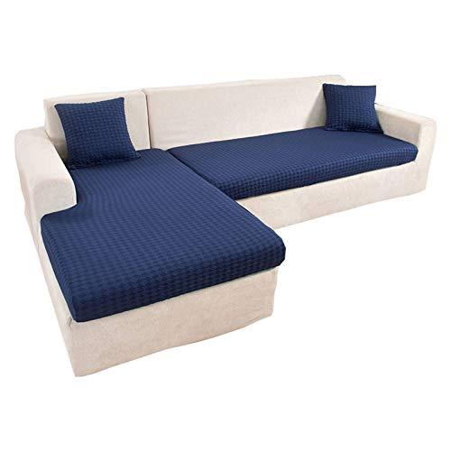 ZHFEL Elasticizzato Copricuscino per Divano,Jacquard Coprisedili per Cuscini Universale Chaise Lounge Protezione per mobili Lavabile AntiGraffio Fodere per sedili per Divano-3 posti-Blu