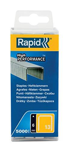 Rapid 40303079 Feindrahtklammer Typ 13/6mm, 5.000 St. Wiederverschließbare Kunststoffbox, 6 mm, Verzinkter Stahl