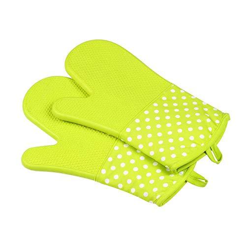 Doyeemei Pizzaofenhandschuhe -1 Paar Backen Silikonofenhandschuhe Grillen Weiches Baumwollfutter mit rutschfester Oberfläche zum Kochen in der Küche Hitzebeständig Green