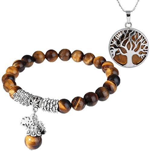mookaitedecor Oeil de Tigre Perles Protection Bracelet Pierre Naturelle Lithotherapie Collier Pendentif Arbre de Vie Bijoux pour Femme