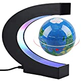 Joso Magnetic Levitation Floating World Map Globe with C Shape Base Stand, LED Lights & 3inch Maglev Rotating Ball for Learning Teaching Demo Home Office Desk Students Education Gift Decoration Blue